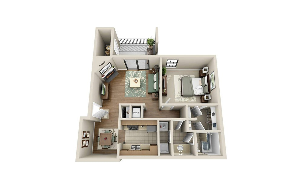 RO 1.1 - 1 bedroom floorplan layout with 1 bath and 739 square feet.