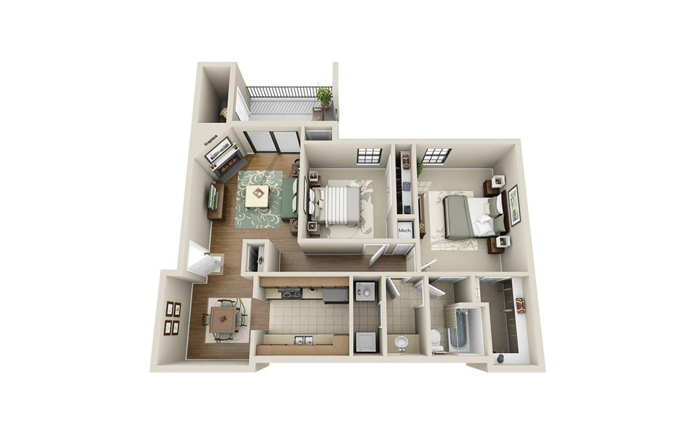 RO 2.1 - 2 bedroom floorplan layout with 1 bath and 937 square feet.