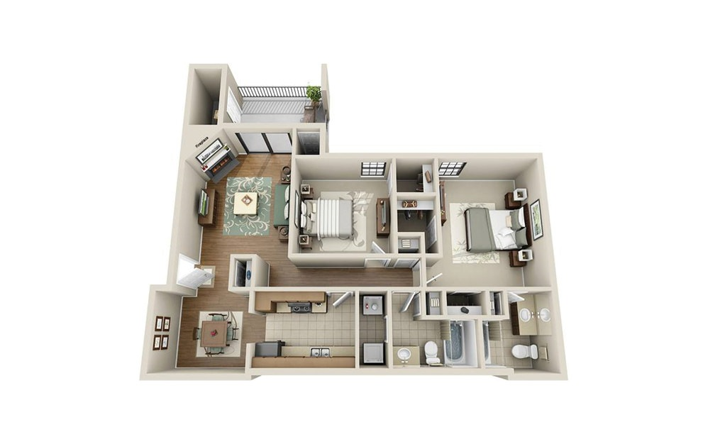 RO 2.2 - 2 bedroom floorplan layout with 2 baths and 1059 square feet.